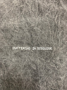 "charcoal sun washed ""suffering in disguise"" tee"