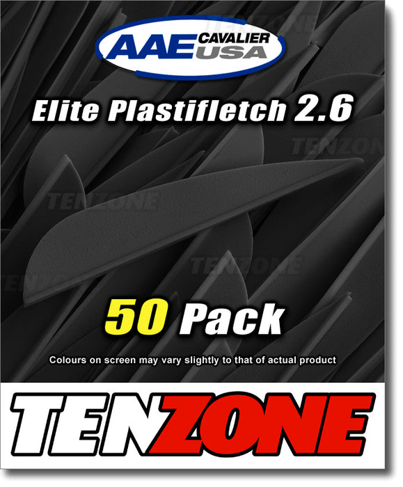 Black AAE Elite Plastifletch 2.6-inch vanes in a 50 pack with Ten Zone Archery and AAE logos