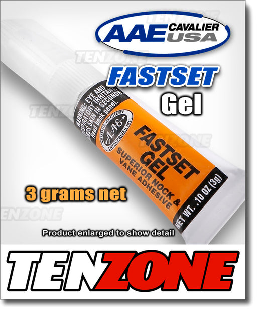 Image of AAE Fastset Gel 3-gram tube on white background with AAE and Ten Zone Archery logos.