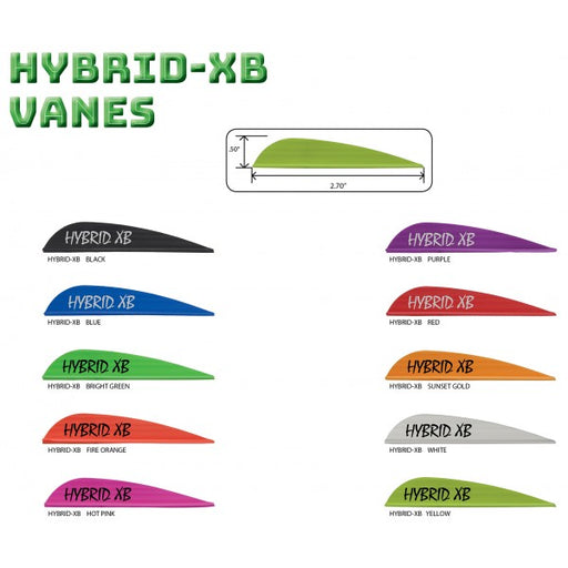 Image showing AAE Hybrid XB Vanes in range of ten colours and vane dimensions of .5 inch height by 2.7 inch length.