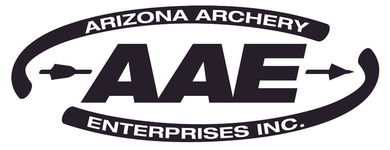 AAE Arizona Archery Enterprises black logo on white ground.