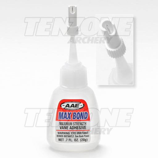 20 gram bottle of AAE Max Bond vane glue showing close-up of new needle-cap design with Ten Zone Archery logo watermark.