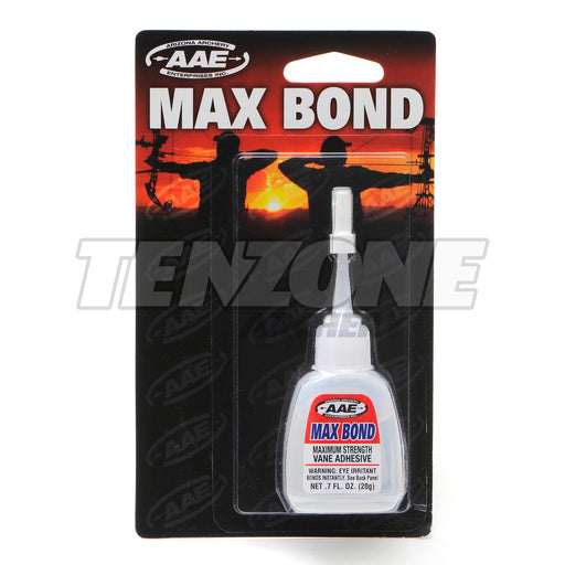 20 gram bottle of AAE Max Bond vane glue in product packaging with Ten Zone Archery logo watermark.