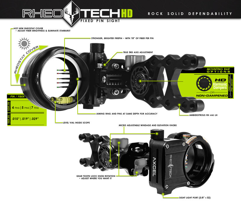 AXCEL - RheoTech HD Hunting Sight - 5 pin - Rheostat