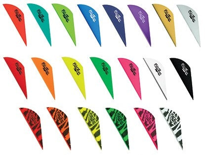 Single Bohning Blazer vanes in each of the fifteen colours and six tiger-patterns available in the range.
