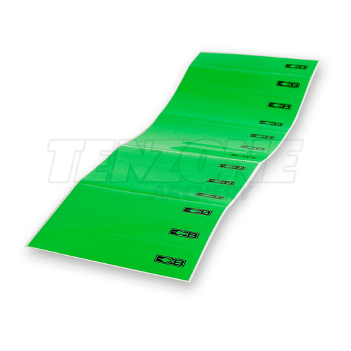 Thirteen neon green Bohning arrow wraps each printed at one end with a black Bohning logo symbol. The Ten Zone Archery logo is visible as a watermark over the image.