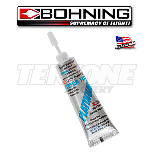 One tube of Bohning Fletch-tite Platinum fletching glue.  The Ten Zone Archery logo is visible as a watermark over the image.