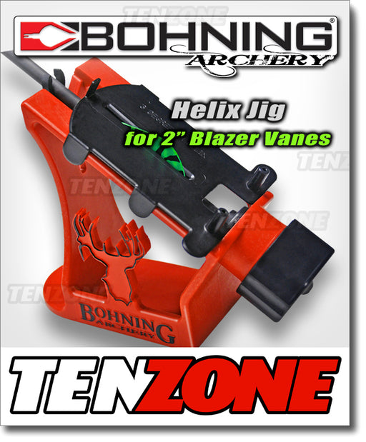 Bohning Helix Jig shown with one three degree right helical clamp. The Ten Zone Archery logo is visible as a watermark over the image.