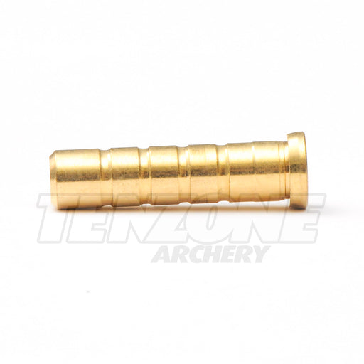 Closeup image of 49 grain brass insert for standard diameter arrows by Evolusion Arrows from Ten Zone Archery