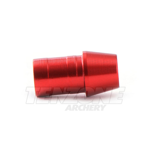 Closeup image of red anodized EV-M/G/F nock bushing for standard diameter arrows by Evolusion Arrows from Ten Zone Archery