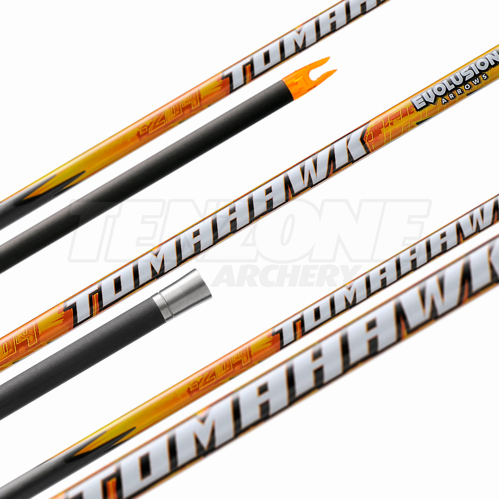 Tomahawk .005 shaft by Evolusion Arrows from Ten Zone Archery showing stainless steel half-out.