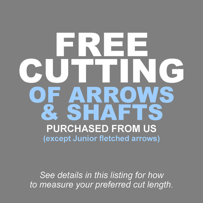 Free cutting of arrows and shafts purchased from Ten Zone Archery