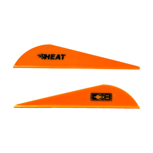 Two neon orange Bohning Heat vanes. One vane shows the black Heat logo. The other faces the opposite direction and shows the black Bohning logo symbol.