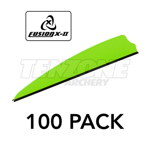 One green Q2i X-II 3-inch vane with a black base. The image includes the Fusion X-II logo and these words: 100 PACK. The Ten Zone Archery logo is visible as a watermark over the image.