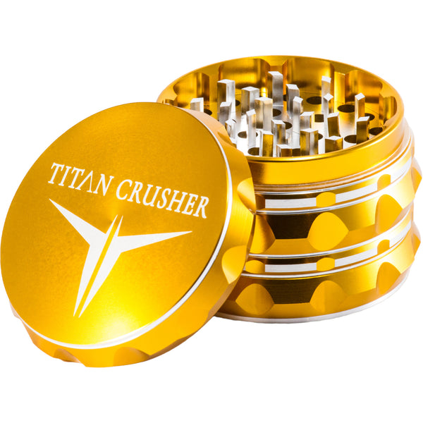 Titan Crusher Herb Grinder | Gold with Grip | Titan 420 Brand