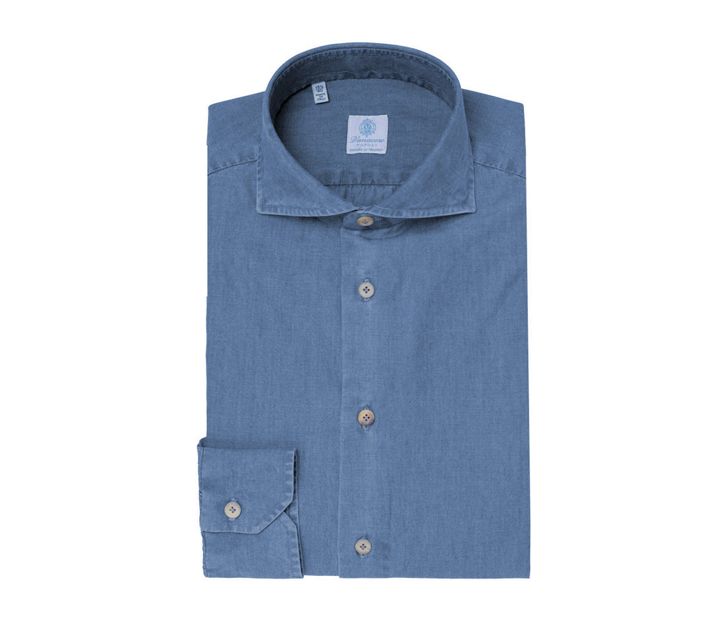Blue Chambray Cutaway Collar Shirt