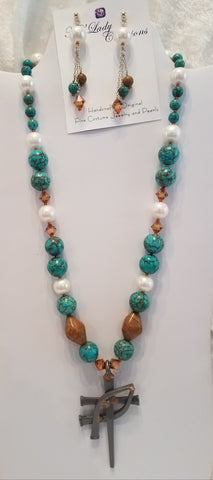 https:turquoise-fresh-water-pearls-wood jasper-horse-shoe-nail-cross-icthus-necklace-matching-earrings