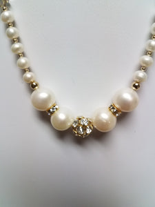 Large Freshwater Pearls & Bling Necklace & Earrings
