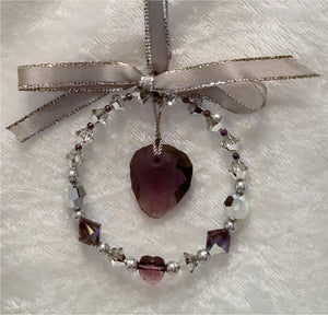 Swarovski-Crystal-Rock-Ornament-grey-amethyst-silver-Christmas