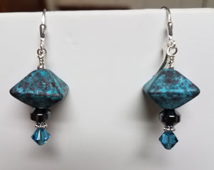 Aqua-Octahedron-Ceramic-Leverback-Earrings