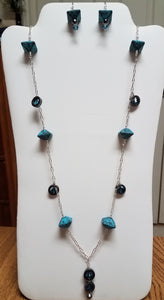 Aqua-Octahedron-Ceramic-Necklace-Leverback-Earrings
