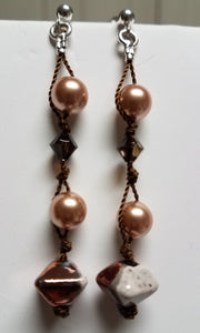 Knotted-Raku-Copper-Octahedron-Swarovski-pearls-Earrings