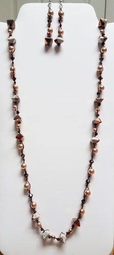 Knotted-Raku-Copper-Octahedron-Necklace-Swarovski-pearls-Matching-Earrings