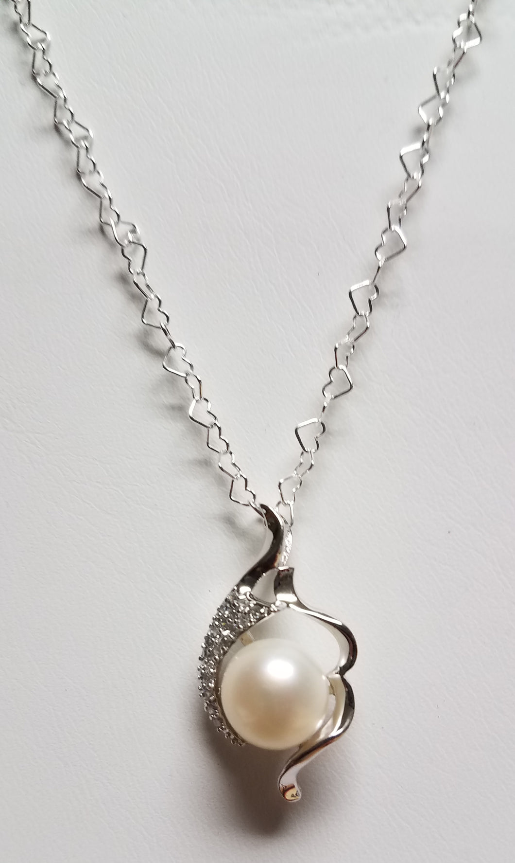 Heart-Chain-freshwater-Pearl-Drop-Necklace-Cubic-Zirconia-Sterling-Silver