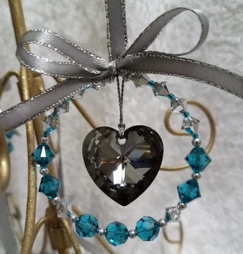Swarovski-Heart-Ornament-Zircon-Blue-Turquoise-Grey-Crystal-Silver-Night-Christmas