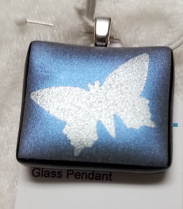 Silver-Blue-Dichroic-Butterfly-Black-Fused-Glass-Pendant