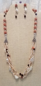 Peach-Hued-Plaited-Freshwater-Pearls-Swarovski-Crystals-Necklace-Earrings