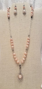 Peach-freshwater-Pearl-crystal-sterling-silver-Pendant-Necklace-Earrings