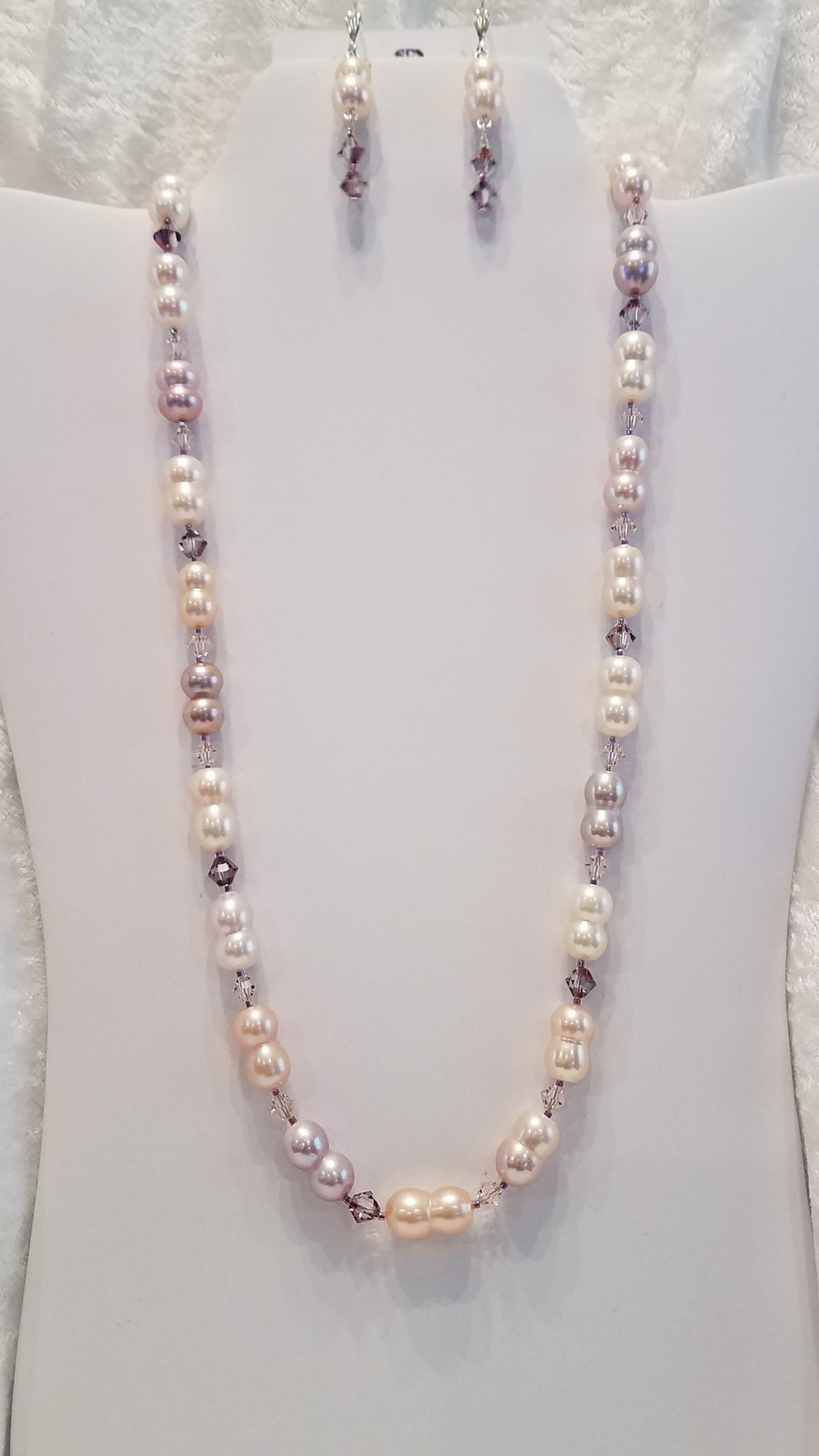 Peanut Freshwater-Pearls-Necklace-Earrings-Pink-Lavender-cream-sterling-silver
