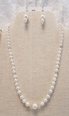 Graduated-Freshwater-Pearls-Crystal-Necklace-Earrings-Wedding-bracelet