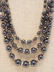Impressive-Three-Strand-Hematite-Crystal-Necklace-Sterling-Silver