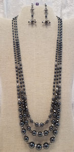 Impressive-Three-Strand-Hematite-Crystal-Necklace-Earrings-Sterling-Silver