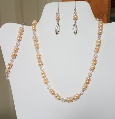 Peach-Fresh-Water-Pearls-Crystals-Miyuki-Delica-Sterling-Silver-Earrings-Bracelet-Earrings