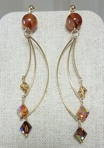Shades-of-Amber-Highly-Polished-Agate-Topaz-Topaz-Swarovski-Crystals-22-karat-gold-Miyuki-Delica-Gold-Filled-Findings-Earrings