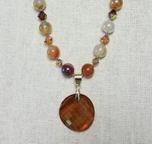 Shades-of-Amber-Highly-Polished-Agate-Topaz-Pendant-Topaz-Swarovski-Crystals-22-karat-gold-Miyuki-Delica-Gold-Filled-Findings-Necklace