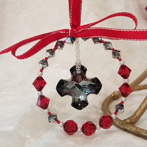 Scarlet Crystal Wreath Ornament