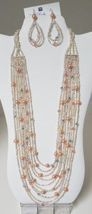 Swarovski-Crystals-Pearls-Miyuki-Seed-Beads-Necklace-Earrings-Rose-Peach-Drape