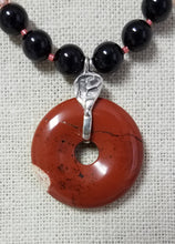 red-jasper-donut-swarovski-crystal-pearl-black-rose-peach-ceramic-discs-sterling-silver-necklace