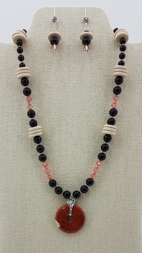 red-jasper-donut-swarovski-crystal-pearl-black-rose-peach-ceramic-discs-sterling-silver-necklace-earrings