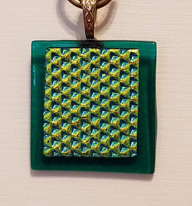 Gold-Diivot-Dichroic-Green-Fused-Glass-Pendant