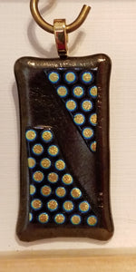 Dichroic-Polka-Dots-on-Iridescent-Dark-Bronze-Fused-Glass-Pendant