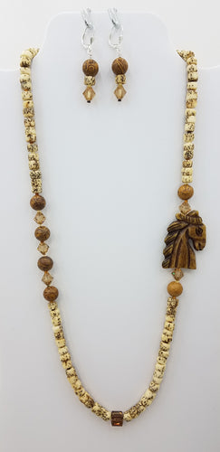 carved wood horse head with jasper and swarovski crystal and salwag seed beads necklace and earrings