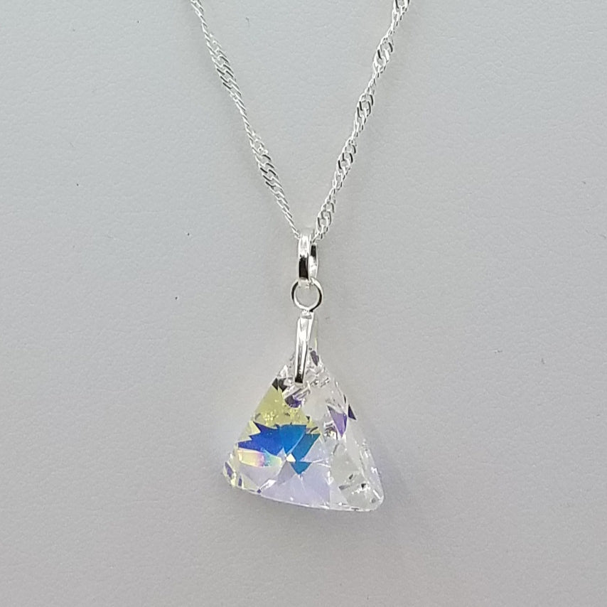 Aurora Borealis Crystal Triangle Pendant Necklace on Sterling Silver