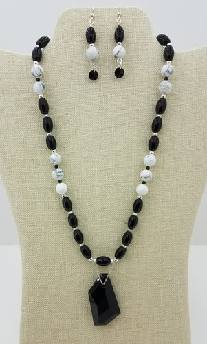 Swarovski Black DeArt Pendant, Crystals & Pearls, Onyx, Howlite, Sterling Silver Necklace & Earrings