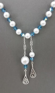 Celtic Swirls w/Indicolite Crystals & Dove Grey crystal Pearls