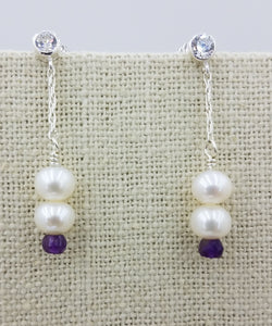 earrings - Very Nice White Freshwater Pearls, Amethyst Rondelles and Sterling Silver